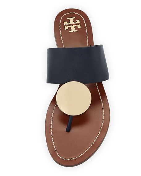 Tory Burch Patos Disk Leather Flat Slide Sandals