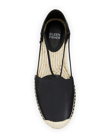 Image 3 of 4: Eileen Fisher Lee d'Orsay Flat Leather Espadrille Sandal