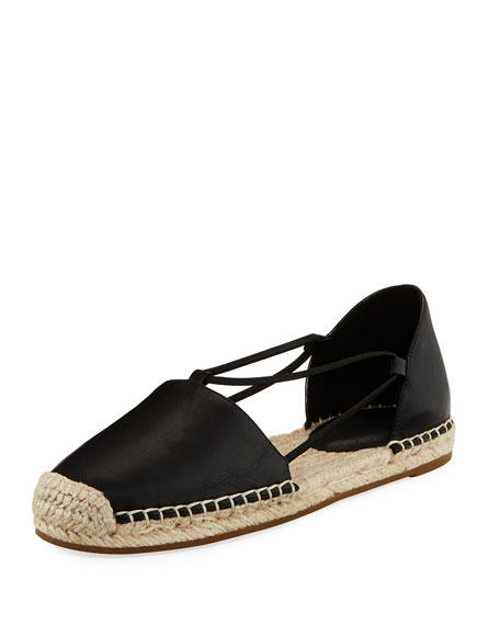 Image 1 of 4: Eileen Fisher Lee d'Orsay Flat Leather Espadrille Sandal