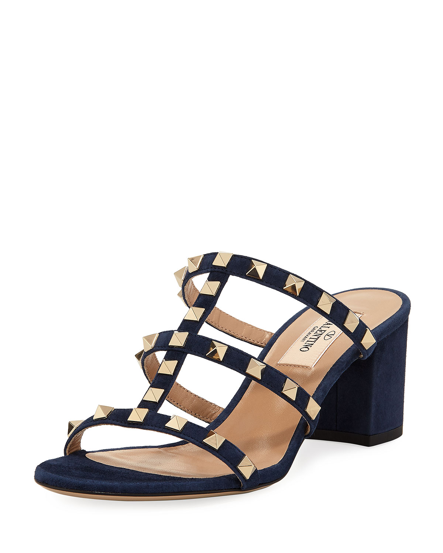 Valentino Garavani Rockstud Suede Slide Sandal Neiman Marcus