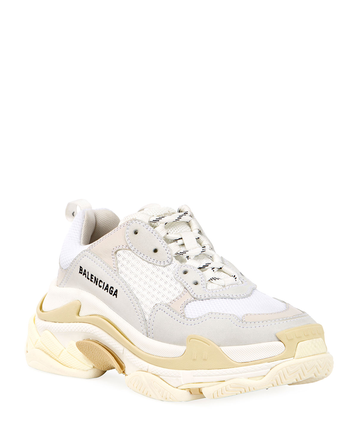 efbcb0141766c Balenciaga Lightly Washed Triple Sneakers with Logo | Neiman Marcus