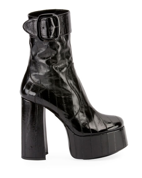 Saint Laurent 140mm Eel Platform Buckle Booties