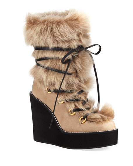Image 1 of 4: Nikita Mid-Calf Fur Wedge Boots