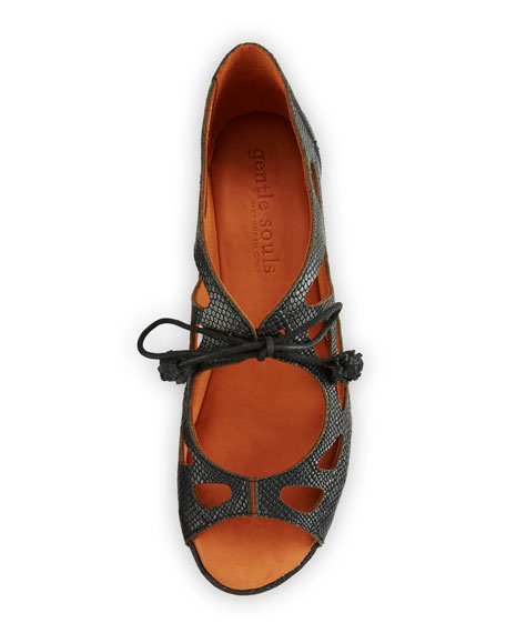 Gentle Souls Brynn Snake-Embossed Lace-Up Sandals