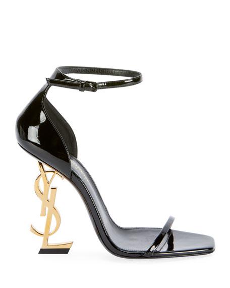 Saint Laurent Opyum YSL Logo-Heel Sandals with Golden Hardware