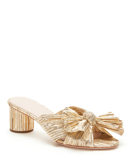 Image 1 of 4: Emilia Pleated Knot Slide Sandals