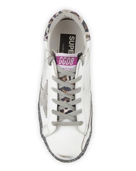 Golden Goose Superstar Leopard-Print Glittered Leather Sneakers