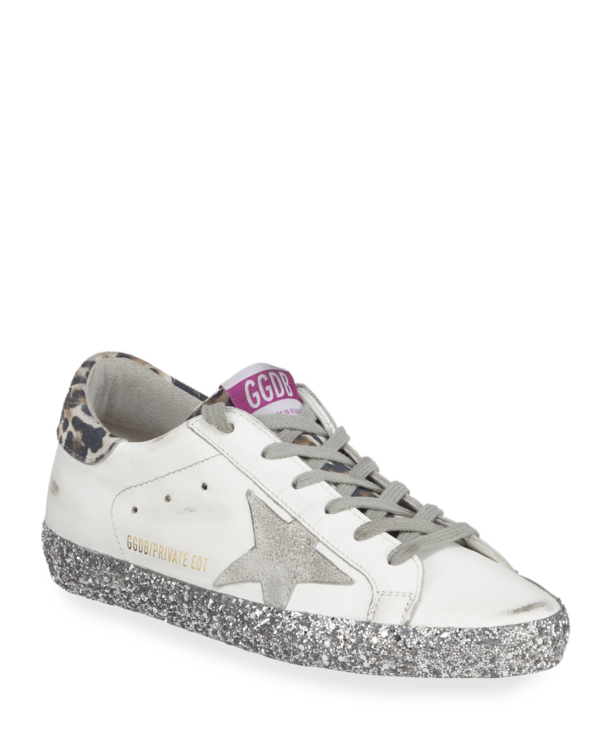7b877e40d2e83 Golden Goose Superstar Leopard-Print Glittered Leather Sneakers ...