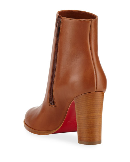 Image 4 of 4: Christian Louboutin Adox Leather Block-Heel Red Sole Boots