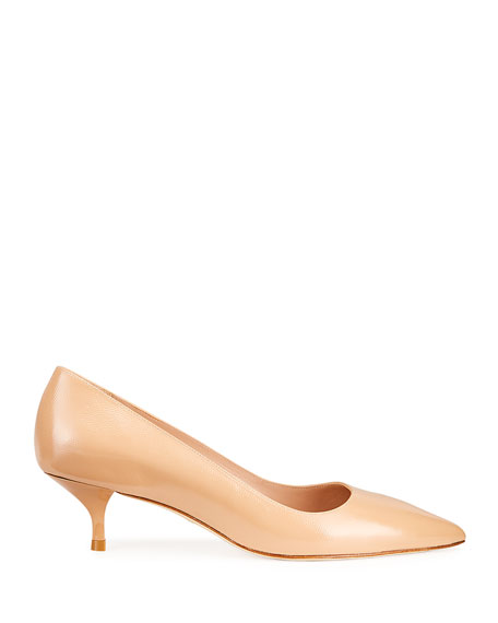 Stuart Weitzman Cindy Patent Leather Mid-Heel Pumps