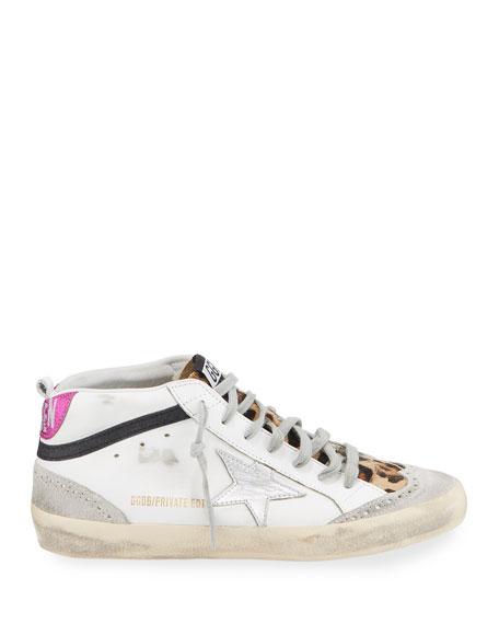 Golden Goose Mid Star Leopard High-Top Sneakers
