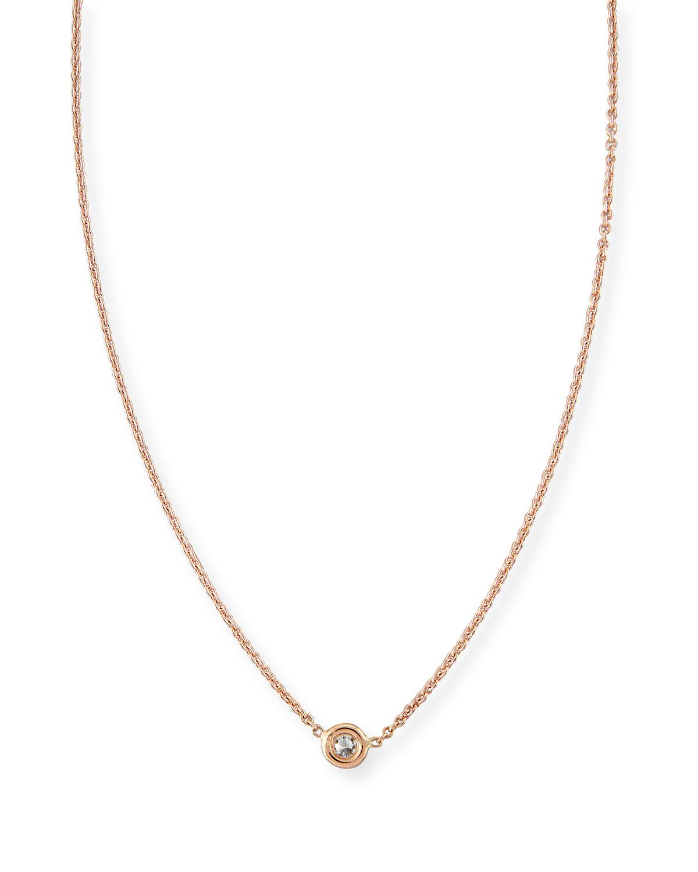Rose gold bezel set necklace neiman marcus quick look roberto coin 18k gold single diamond necklace aloadofball Choice Image