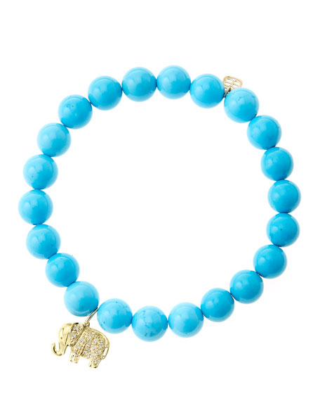 8mm Turquoise Beaded Bracelet with 14k Gold/Diamond Small