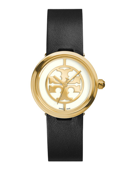 Tory Burch Watches 28mm Reva Leather-Strap Watch, Black/Golden