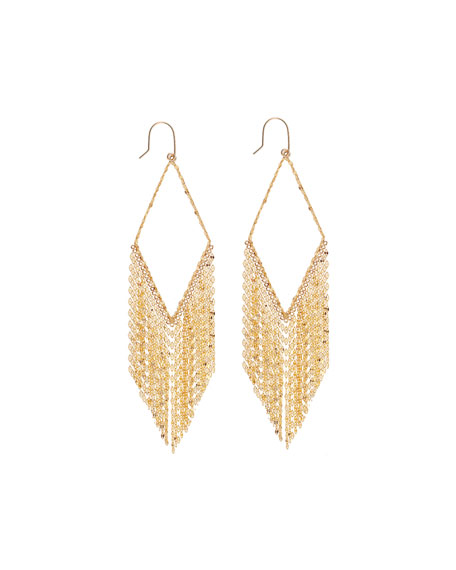 Lana 14k Diamond-Shaped Fringe Hoop Earrings