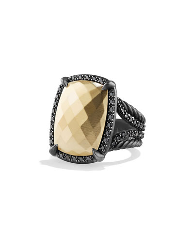Chatelaine Ring with Gold Dome and Black Diamonds