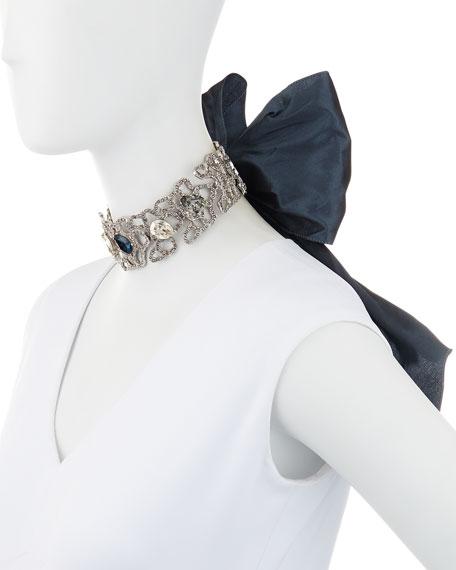 Pavé Crystal Choker w/Silk Bow, Blue