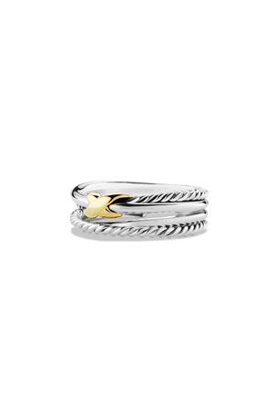 David Yurman Sterling Silver & 18K Gold X Crossover Ring