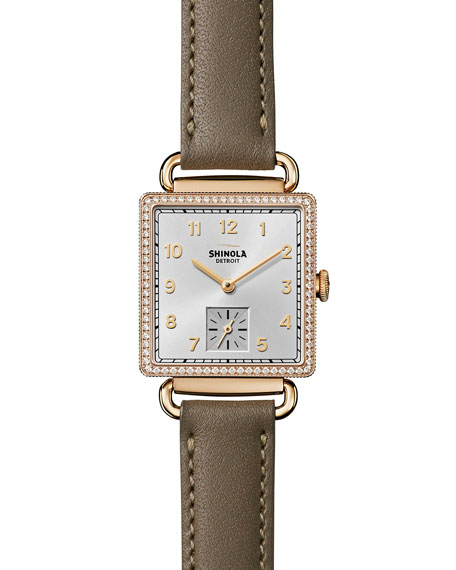 The Cass 28mm Leather Strap Watch with Diamonds, Gray