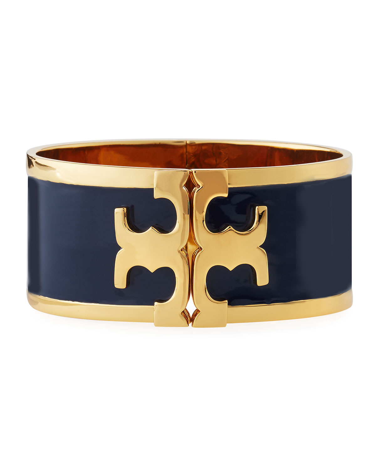 Tory Burch Slim Raised Logo Enamel Cuff Bracelet