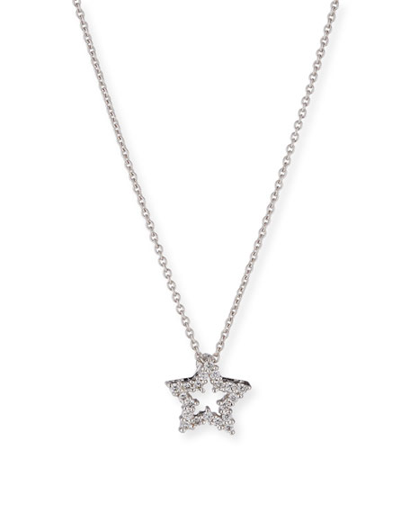 Roberto Coin Diamond Star Pendant Necklace in 18K White Gold