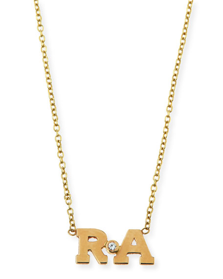 Zoe Chicco 14k Two-Letter Pendant Necklace with Diamond