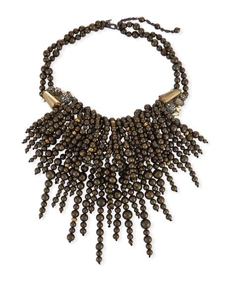 Cascading Pearly Pyrite Necklace