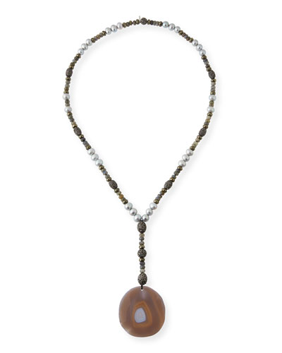Ibiza Sliced Agate Pendant Necklace
