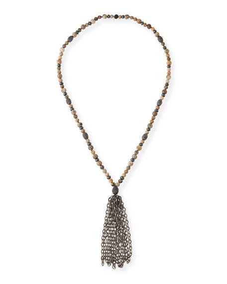 HIPCHIK St. Barths Chain Tassel Necklace in Beige