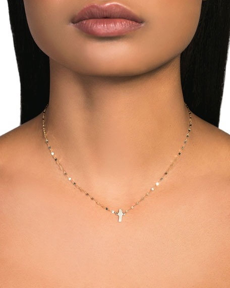 LANA 14k Mini Cross Necklace