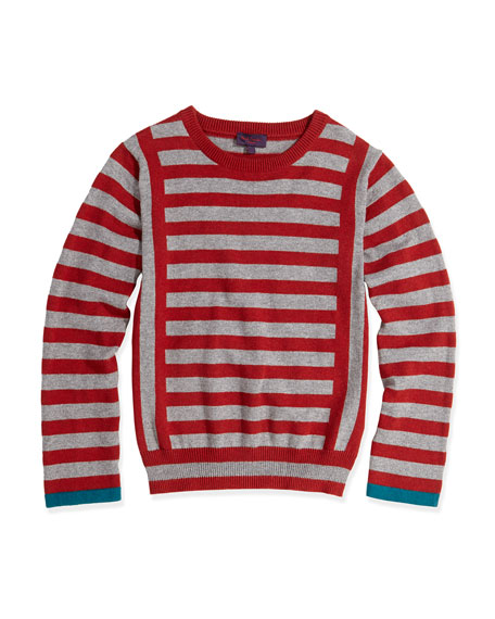 Striped Round-Neck Sweater, Sizes 2T-6T