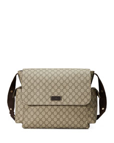 gucci guccissima faux leather diaper bag w changing pad. Black Bedroom Furniture Sets. Home Design Ideas