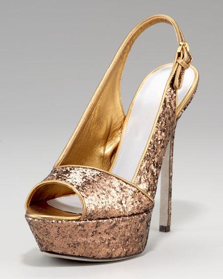 Sergio Rossi Glittered Platform Sandal