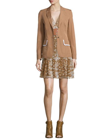 Sleeveless Ruffled-Hem Dress, Caramel/Multi