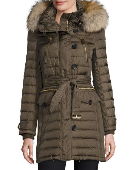 Burberry Pipleigh Hooded Puffer Jacket Mink Gray Neiman