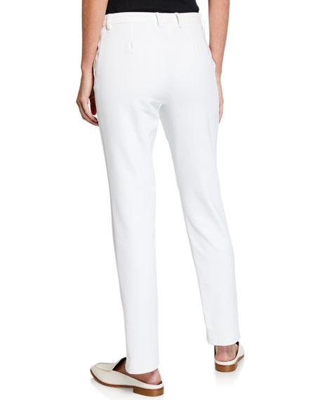 Stretch Micro Ottoman Ankle Pants, Bianco