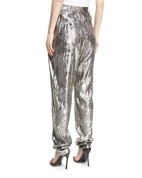 Metallic Pleated High-Waist Trousers, Silver