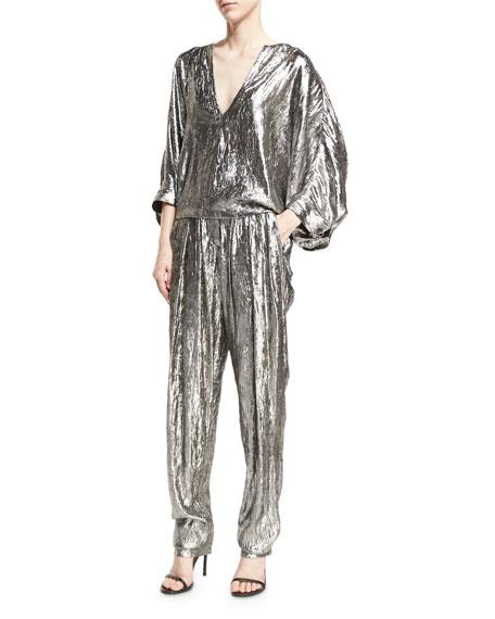 Lamé Pleated High-Waist Trousers, Silver