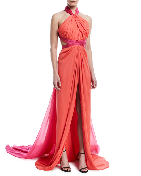 Halter-Neck Chiffon Cross-Back Evening Gown