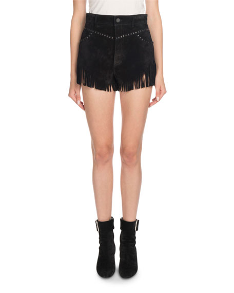 Suede Shorts with Fringe Hem & Studs