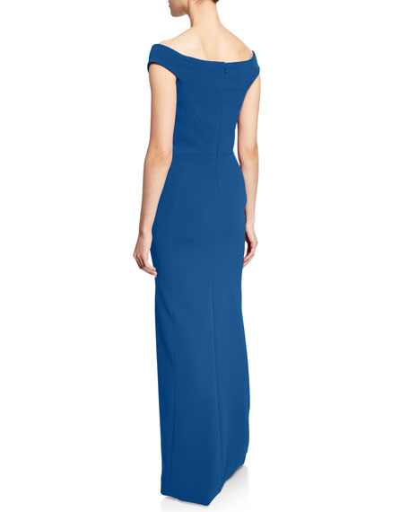 Image 2 of 2: Zac Posen Off-the-Shoulder Bonded-Crepe Gown