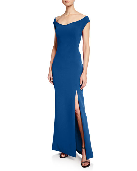 Image 1 of 2: Zac Posen Off-the-Shoulder Bonded-Crepe Gown