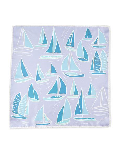 Sailboat-Print Silk Square Scarf
