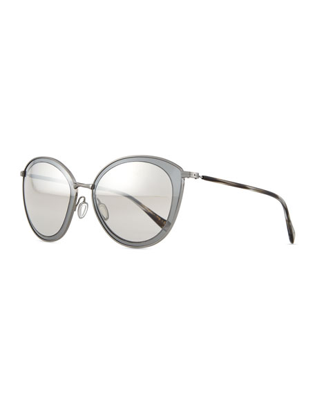 Oliver Peoples Gwynne Lens-in-Lens Mirror Sunglasses
