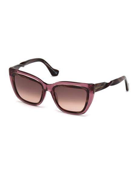 Balenciaga Horn-Effect Twisted Cat-Eye Sunglasses