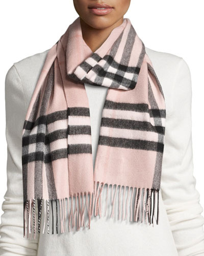 Giant Check Cashmere Scarf  Rose