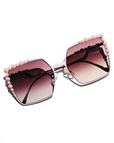 1c4f76e1d5 Image 2 of 4  Fendi Can Eye Studded Oversized Square Sunglasses
