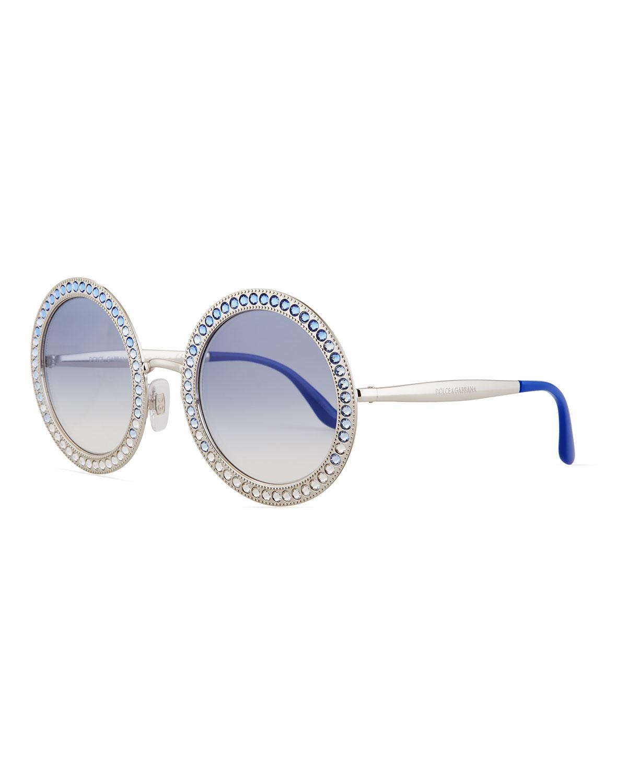 8e99284f26c Dolce   Gabbana Oversized Round Metal Swarovski® Sunglasses