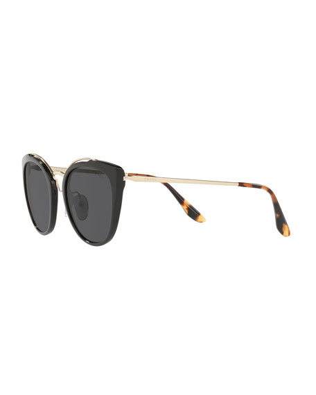Prada Acetate & Metal Mirrored Cat-Eye Sunglasses