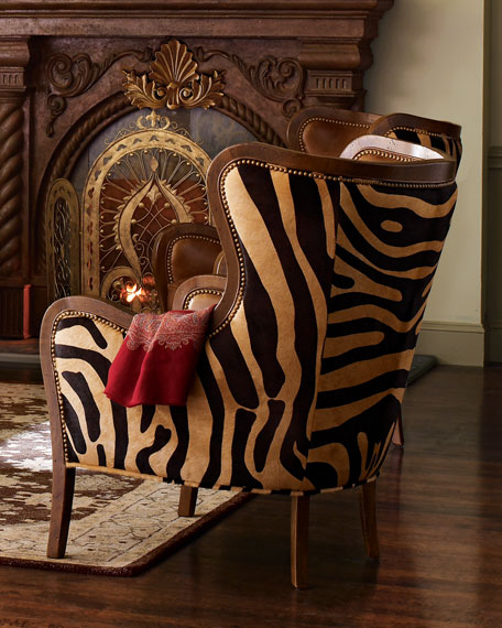 Image 3 of 3: Massoud Chocolate Zebra Wing Chair
